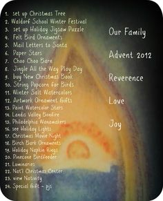 Advent - a time of Reverence, Love and Joy -list of activities