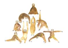 Cute Yoga Sloth Pyramid Art Print by TodayTripper on etsy. Yoga inspiration with cute sloths !!! I love it!