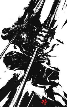 Japanese-Style Samurai Art - Illustrator Deryl Braun Uses a Sumi-e Ink Wash Technique Ronin Samurai, Samurai Warrior, Japanese Culture, Japanese Art, Japanese Style, Geisha, Samurai Artwork, Japanese Illustration, People Illustration
