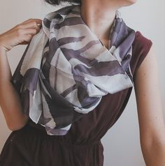 Hand painted silk shawl hand painted silk scarf | handpainted | aubergine and white | minimalist fashion | neutral palette | neutral colors | summer scarf | summer fashion | fashion accessories | light scarf | long scarf | abstract art | square pin