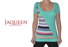 Shirt mint bunte Streifen von Jaqueen auf DaWanda.com