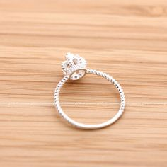 sterling silver, tiny CROWN ring with crystals
