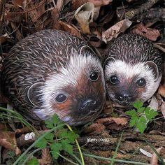 painted pebbles hedgehogs river rocks