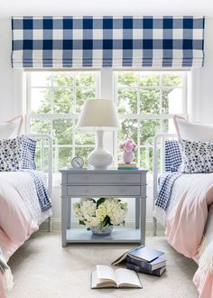 Pretty and Preppy Girls Room | Bria Hammel Interiors Twin Girl Bedrooms, Little Girl Rooms, Guest Bedrooms, Twin Girls, Girls Bedroom Blue, Room Girls, Home Bedroom, Bedroom Decor, Bedroom Ideas