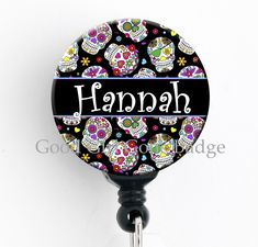 bb5253afa Sugar Skull Retractable Badge Reel Personalized Name Badge Holder * You  could obtain more details by clicking the image. (This is an affiliate  link).