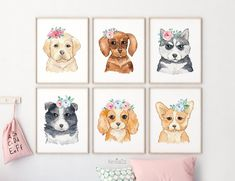 Set of 6 Watercolor Puppy Prints, Nursery Wall Decor, Animal with Flower Crown, Baby Nursery Prints Kids Room Playroom Posters Dog Printable Puppy Nursery Theme, Dog Nursery, Dog Bedroom, Animal Nursery, Woodland Nursery, Woodland Animals, Nursery Art, Girls Bedroom, Dog Room Decor