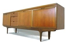 DANISH STYLE TEAK CREDENZA, SIDEBOARD OR MEDIA CONSOLE, STUNNING FINISH & GRAIN #Contemporary