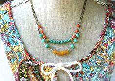 Emmy. double layered bohemian beaded necklace. por tiedupmemories
