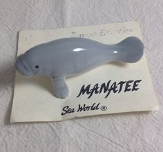 Vintage Manatee ceramic figurine from by GroundselNecklaces