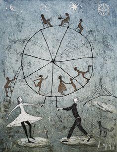 Maailmanpyörä Emmi Vuorinen etching and aquatint