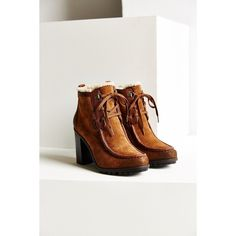 Sam Edelman Madge Bootie (9.690 RUB) ❤ liked on Polyvore featuring shoes, boots, ankle booties, brown, lace up boots, suede lace up booties, fuzzy boots, suede lace up ankle booties and short suede boots