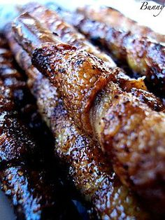 Whoa! Bacon Wrapped Pretzel Sticks--you'd have to hold one with a napkiin I'd think