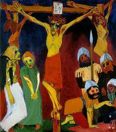 """Emil Nolde – """"La crucifixión"""" (1911-1912, panel central del políptico """"La vida de Cristo"""", óleo sobre lienzo, 220 x 579 cm, Neukirchen, Fundación Ada y Emil Nolde, Seebüll, Alemania) Al principio de su carrera, el pintor Emil Nolde formó parte del..."""