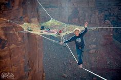 BASE jumpers and slackliners worked together to weave a 2000-square-foot web over the rocky Utah desert.