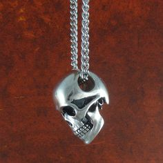 "Human Skull Necklace Antique Silver Skull Jewelry on 24"" Antique Silver Chain. $60.00, via Etsy."