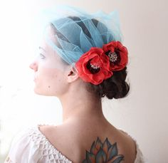 blue birdcage veil with red poppies bridal hair by LacePoems