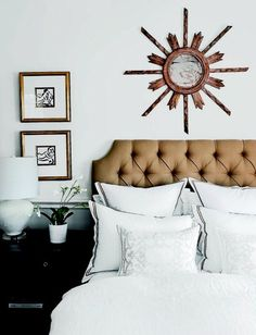 single object above bed, frames above bedside tables.  Centsational Girl » Blog Archive » Ten Things to Hang Above The Bed