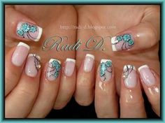 simple blue flowers on french tips