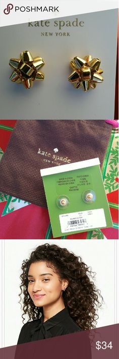 NEW Kate Spade Bourgeois Bow Earrings Studs - Gold Brand new & authentic oversized Bourgeois bow earring studs in Gold from kate spade NEW YORK  Kate Spade dust bag included for each pair! Free gift with purchase!  Material: Gold plated metal  Features: Shiny 14-karat gold filled posts  A must-have for any jewelry lovers, never go out of style, you will get to enjoy them for years to come, well worth it! Perfect for gifts and the holidays. I own these in every colors and get lots of…