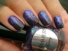 @Shimmer D D Polish Shimmer Polish Gerry over Elaine - gorgeous purple glitter gradient