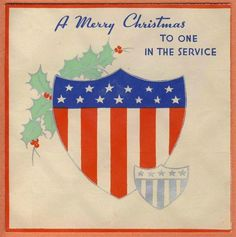 vintage military serviceman/soldier World War II XMAS CARD shield, stars stripes