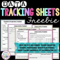 Data Tracking Sheets FREEBIE! Brandy Shoemaker on TpT. Great for PLCs, data binders, teacher eval system evidence, RtI documentation, parent teacher conferences!