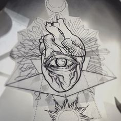 Project for today #heart #eye #duality #geometric #moon #sun