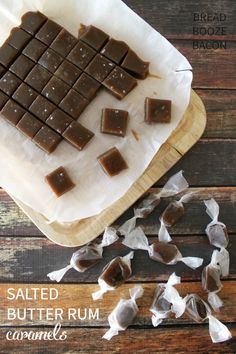 Salted Butter Rum Caramels are just about the best thing you'll ever put in your mouth.They're heaven shaped in delicious little squares! Caramel Recipes, Candy Recipes, Baking Recipes, Sweet Recipes, Dessert Recipes, Just Desserts, Delicious Desserts, Yummy Food, Christmas Treats