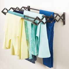 mDesign Wall Mount Accordion Laundry Clothes Drying Rack, Bronze, Metal, x x Hanging Clothes Drying Rack, Wall Mounted Drying Rack, Drying Rack Laundry, Laundry Room Storage, Laundry Area, Compact Laundry, Do It Yourself Organization, Closet Organization, Kitchen Design Gallery