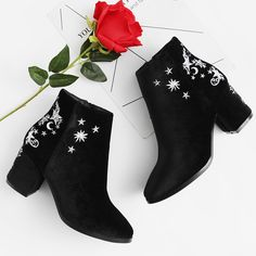Star & Moon Embroidered Chelsea Ankle Boots