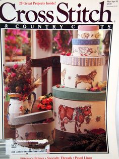 Cross Stitch And Country Crafts Cross Stitch Pattern Magazine March/April 1991 Vintage #PatternMagazine #LadysFan #CrossStitch #CountryCrafts #VegetablePattern #NeedleworkPattern #VintagePattern #CrossStitchPattern #BarnyardAnimals #VintageCrossStitch