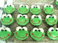 Froggy cupcakes! Green icing, marshmallows for eyes, a bit of red icing for the mouth, and a dot of black icing for each eye, though you could use M's or something, too.
