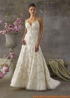 Elegantes Brautkleid A-Linie aus Satin mit Applikation online