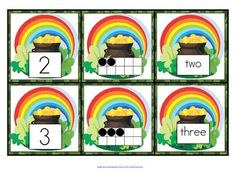***FREE***  This is a set of number cards with a St. Patrick's Day theme, 0-10.  Use for recognition, sequence, memory games, hiding and finding games, and of course, matching. 7 pages