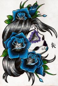 Sugar Skull Tattoo but with purples and blues, this is GORGEOUS!! I would love this on my leg!