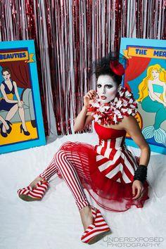 Circus Skirt, Red Stripe Skirt, Women's Costume, Clown Costume, Pirate Costume, Cincher Skirt