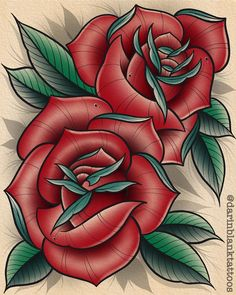 Pair of roses from today. The last piece done on my first gen iPad Pro. I upgraded to the new fancy one. Can't wait to start cranking… Flower Tattoo Stencils, Flower Tattoo Foot, Flower Tattoo Designs, Flower Tattoos, Neo Traditional Roses, Traditional Tattoo Flowers, Traditional Compass Tattoo, Neo Traditional Tattoo, Single Rose Tattoos