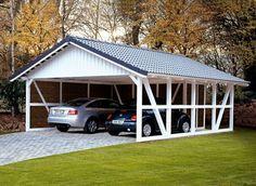 Donnez du charme à votre jardin avec ce carport en pin coloré blanc. Il dispose d'un atelier, et d'une grande surface pour abriter deux voitures!