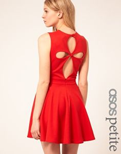ASOS PETITE Exclusive Skater Dress With Cut Out Back Detail