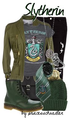 """Slytherin"" by princesschandler ❤ liked on Polyvore featuring Pull&Bear, Dsquared2, Tressa, Topshop, Dr. Martens, harrypotter, slytherin and SlytherinPride"