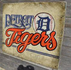 Detroit Tigers baseball Print, with Mat, original, wall hanging, faux vintage sign, sports decor. $15.00, via Etsy.