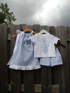Seersucker baby boy and baby girl outfits. Monogrammed seersucker: