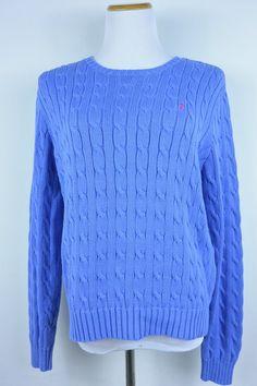 Ralph Lauren XL Blue Cotton Knit Crewneck Sweater Pink Pony Logo #93 #RalphLauren #Crewneck