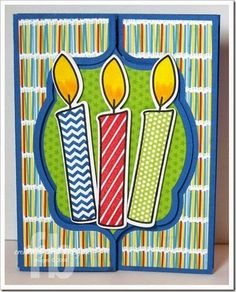 Birthday Candles created by Frances Byrne using Candles4birthdays; morecandles2stamp & coordinating die set – The Stamps of Life & Sizzix Royal Stand Up Framelits