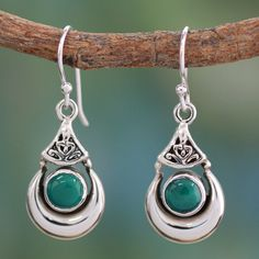 f319179b896e NOVICA Handcrafted Sterling Silver and Natural Turquoise Earrings ( 43) ❤  liked on Polyvore featuring