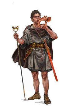 Aristócrata celtíbero con su signa equitum y soplando una trompa de cerámica, el equivalente celtíbero al carnyx galo, siglo II a.C. (Iván Gil).
