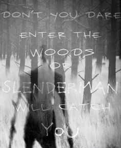 Don't you dare enter the woods or Slenderman will catch you, text, Slenderman… Creepypasta Quotes, Creepypasta Slenderman, Creepypasta Characters, Creepy Stories, Horror Stories, Creepy Quotes, Creepy Pasta Family, Eyeless Jack, Dhmis