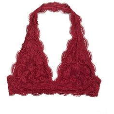 fee63309ea r.bryant Burgundy Scalloped Lace Halter Bralette ( 13) ❤ liked on Polyvore  featuring intimates