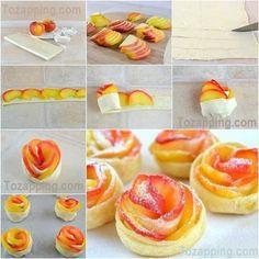 Rosas de hojaldre con manzana. Una receta popular, con una mirada original, sabrosa y crujiente y mucho más fácil de preparar de lo puede parecer a primera