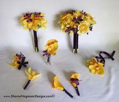 sharon nagassar designs silk, latex, real touch, custom wedding flowers - Peony-Tulip-Cymbidium-Green-White-Bright Fuchsia